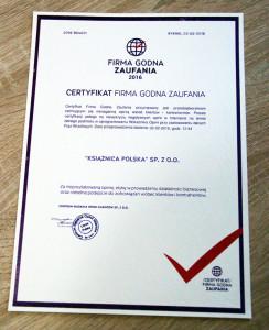 książnica polska certyfikat