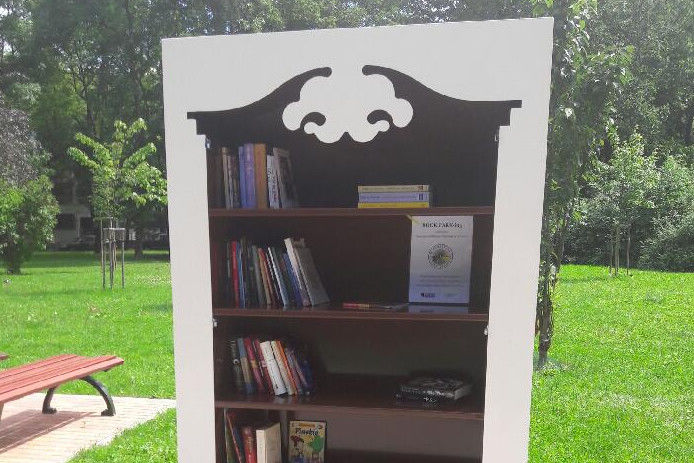 szafa biblioteczna w parku