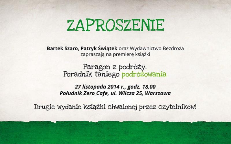 Zaproszenie na premierę książki Paragon z Podróży