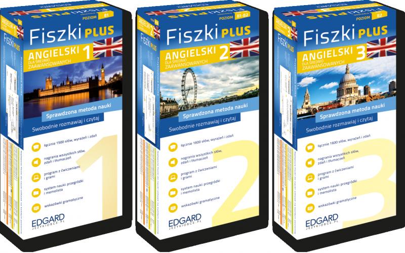 Angielski Fiszki PLUS  dla średnio zaawansowanych 1, 2, 3