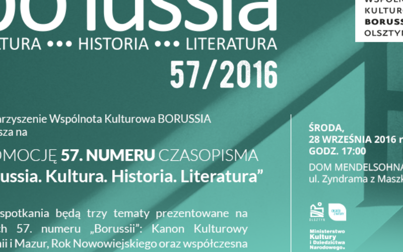 """""""Borussia. Kultura. Historia. Literatura"""" – promocja 57. numeru czasopisma"""