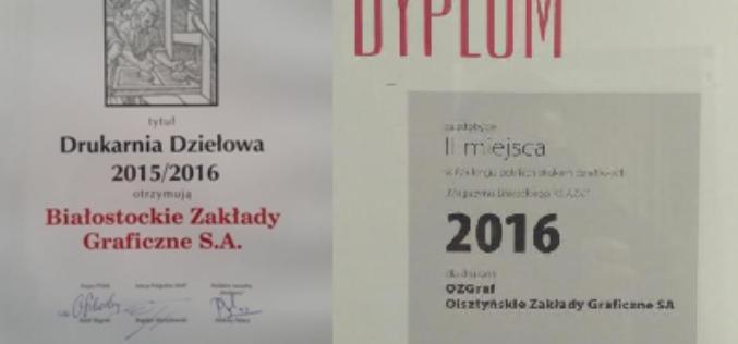 BZGraf i OZGraf nagrodzone w rankingach