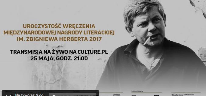 Transmisja uroczystości wręczenia Międzynarodowej Nagrody Literackiej im. Zbigniewa Herberta 2017