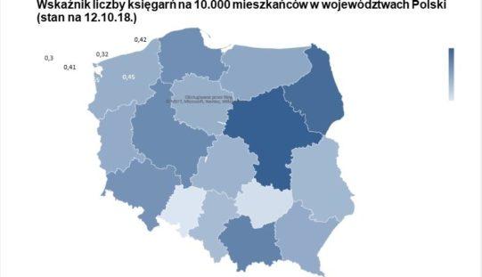 Wskaźnik liczby księgarń na 10 000 mieszkańców w województwach Polski
