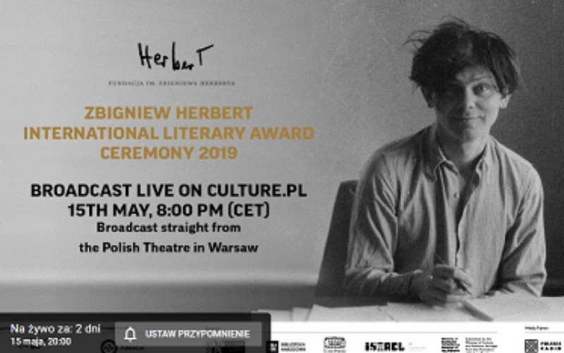Wręczenie Międzynarodowej Nagrody Literackiej im. Zbigniewa Herberta 2019 – transmisja online