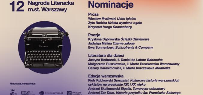 Nominowani do 12. edycji Nagrody Literackiej m. st. Warszawy na Warszawskich Targach Książki