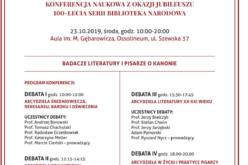 Badacze literatury i pisarze o kanonie – debaty na 100-lecie serii Biblioteka Narodowa
