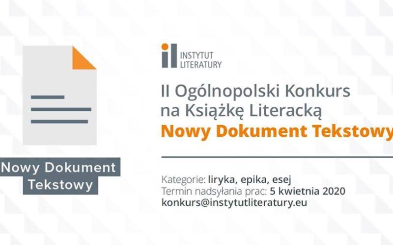 """II Ogólnopolski Konkurs na Książkę Literacką """"Nowy Dokument Tekstowy"""""""