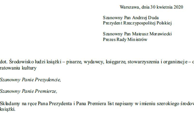 Pismo środowiska ludzi książki do pana prezydenta Andrzeja Dudy i pana premiera Mateusza Morawieckiego