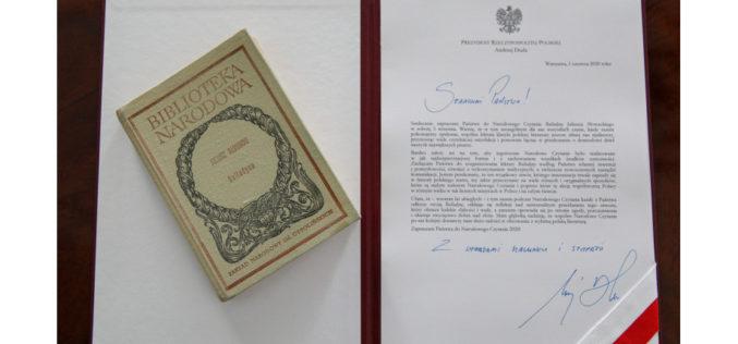 Narodowe Czytanie 2020: list prezydenta RP Andrzeja Dudy